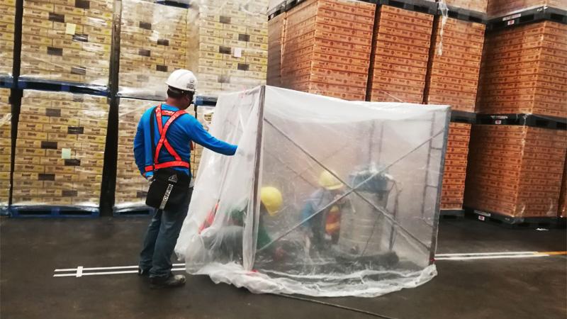 งานตีเส้นโรงงาน ทำซุ้มกันฝุ่น เนื่องจากโรงงานลูกค้าเก็บอาหาร
